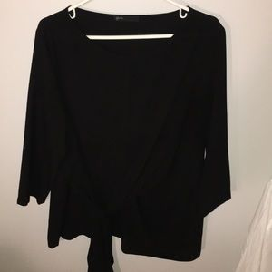 Black front tie 3/4 length sleeve top